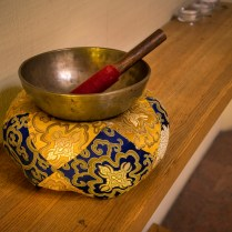 Bowl used to signal the end of meditation periods.