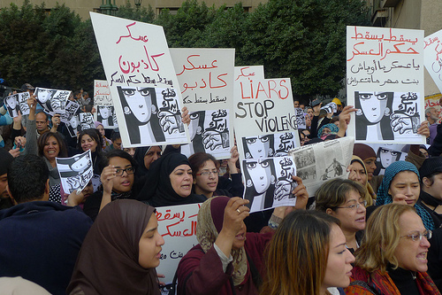"Egyptian women march in protest following the attack on ""The Girl in the Blue Bra"""