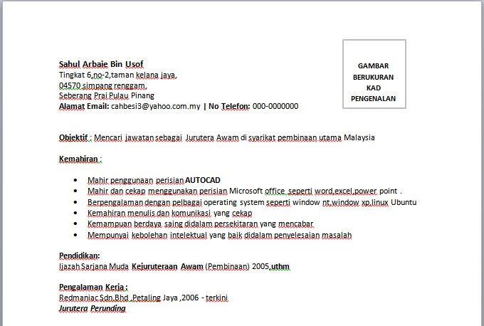 contoh resume jurutera awam  u2014 contoh resume
