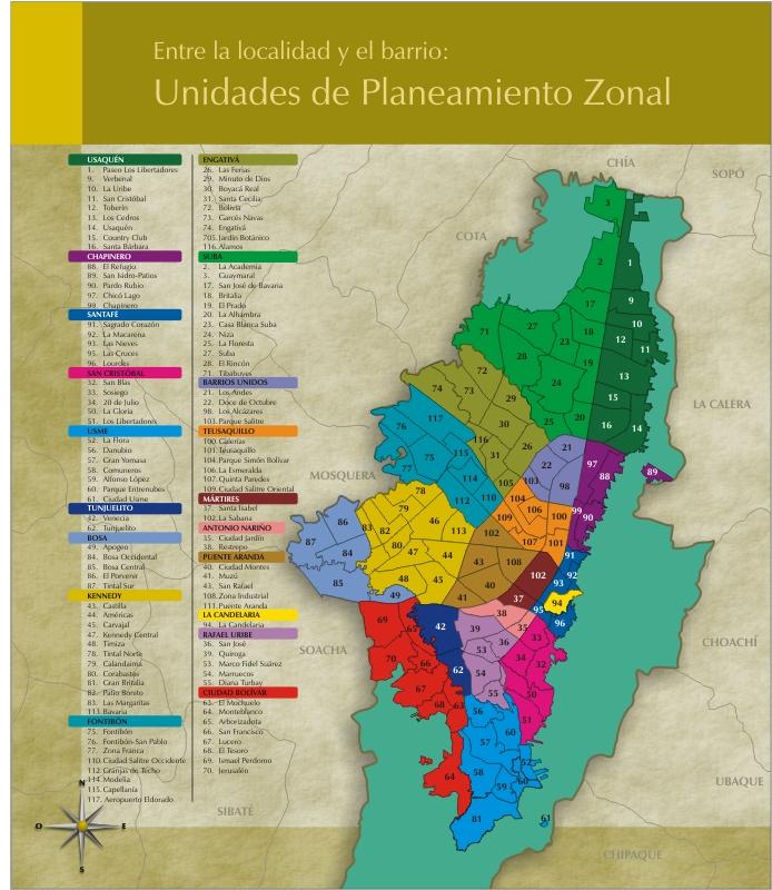 Mapa localidades y UPZ