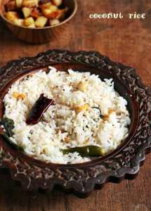 Coconut rice recipe, how to make coconut rice | Thengai sadham recipe