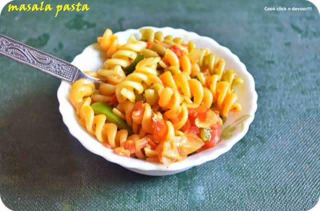 masala pasta recipe with step by step photos.