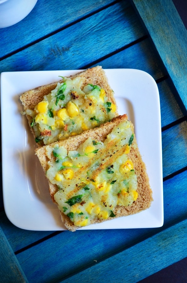 Corn potato open toast recipe 2