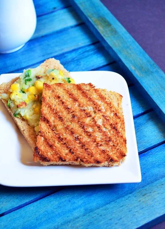Corn potato open toast recipe 4