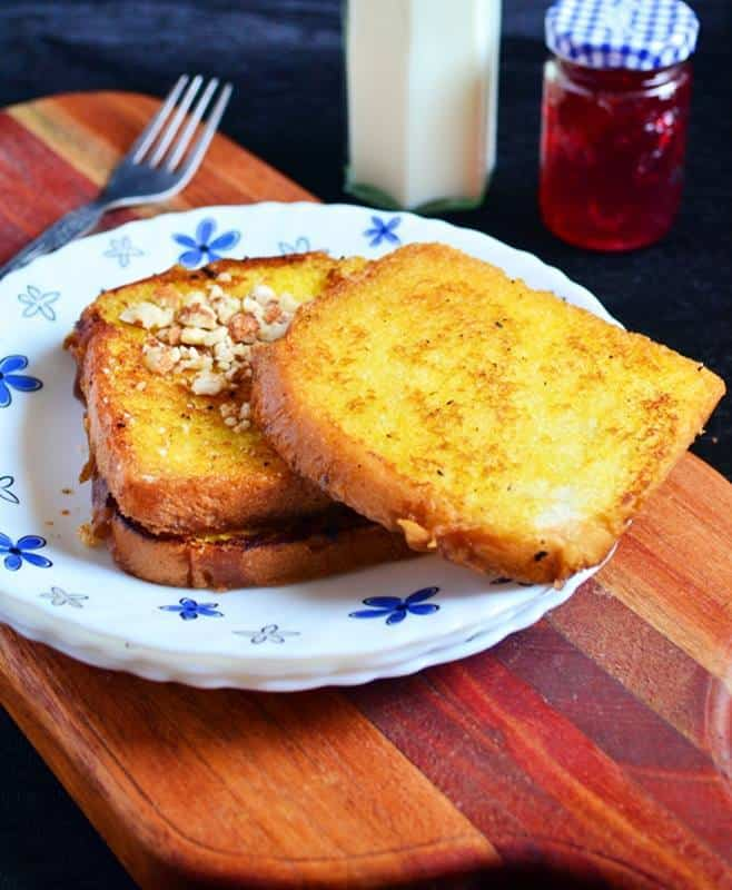 egg less french toast recipe with nuts