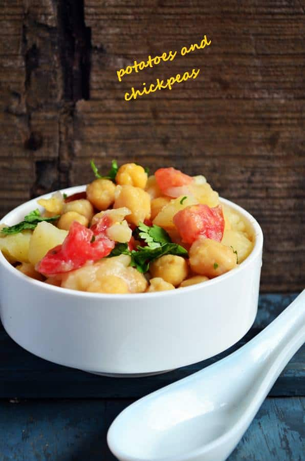 healthy potatoes and chickpeas salad