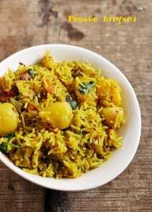 Aloo dum biryani recipe, potato biryani recipe