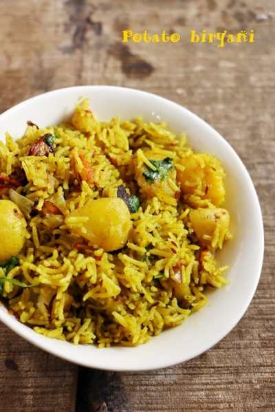 Aloo dum biryani recipe, potato biryani recipe