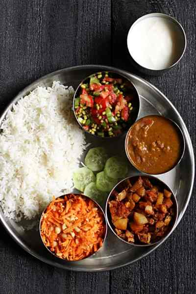 Lunch menu ideas 1- Simple south Indian lunch