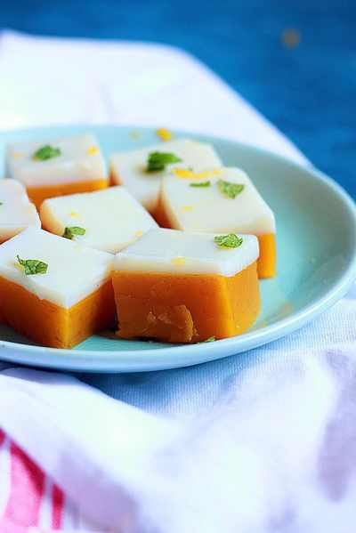 Mango coconut jelly recipe | Mango agar agar jelly recipe