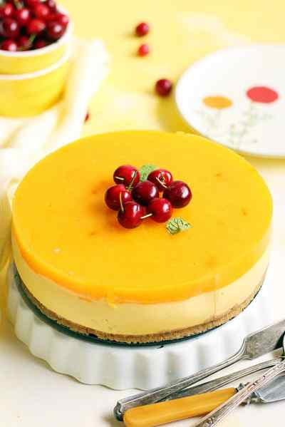 eggless mango cheesecake recipe, how to make no bake mango cheesecake recipe