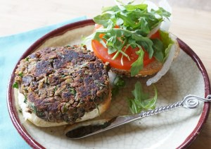 mushroom lentil patty on bun