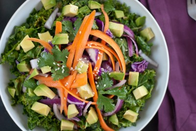Asian Raw Kale Salad with Red Pepper Dressing - Cookie and Kate