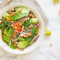 Fresh Vegetable Soba Noodle Salad with Soy Lime Vinaigrette