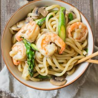 Shrimp Teriyaki Udon with Asparagus and Mushrooms