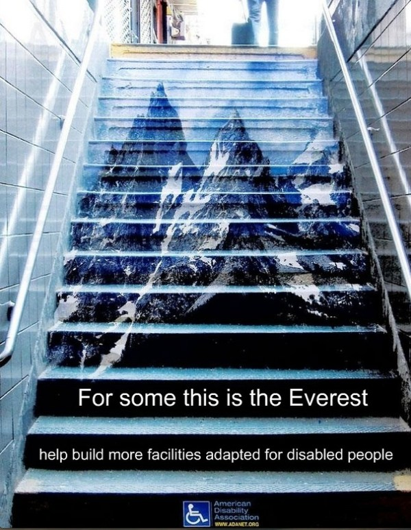 For some this is Everest clever ad promoting easier access for disabled people