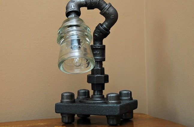 Industrial theme pipe lamps cool material for Gas pipe lamp