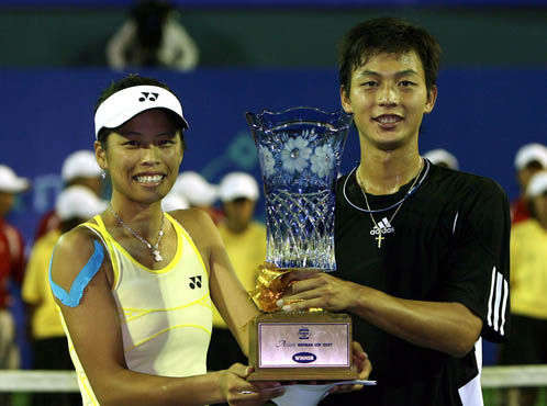 Lu Yen-hsun (right) and Hsieh Su-wei