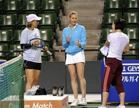 Date, Graf, Navratilova - Dream Match 2008 - practice