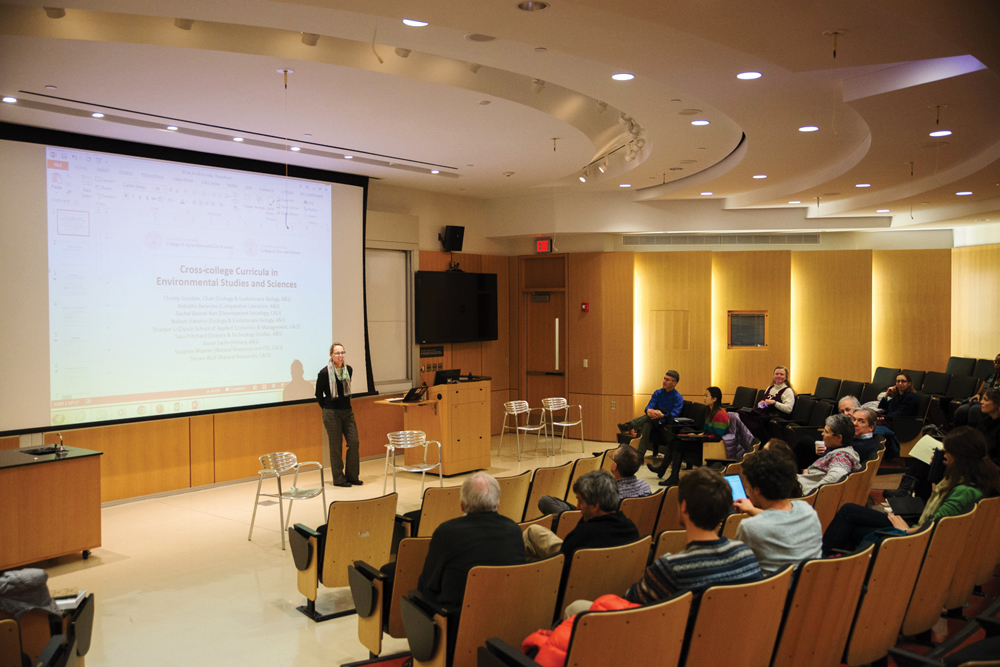 Prof. Christine Goodale, ecology and evolutionary biology, the chair of the proposal committee, speaks about a potential environmental studies major at forum Tuesday.