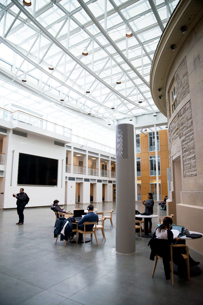 The atrium features a large television screen facing the Goldwin Smith rotunda.