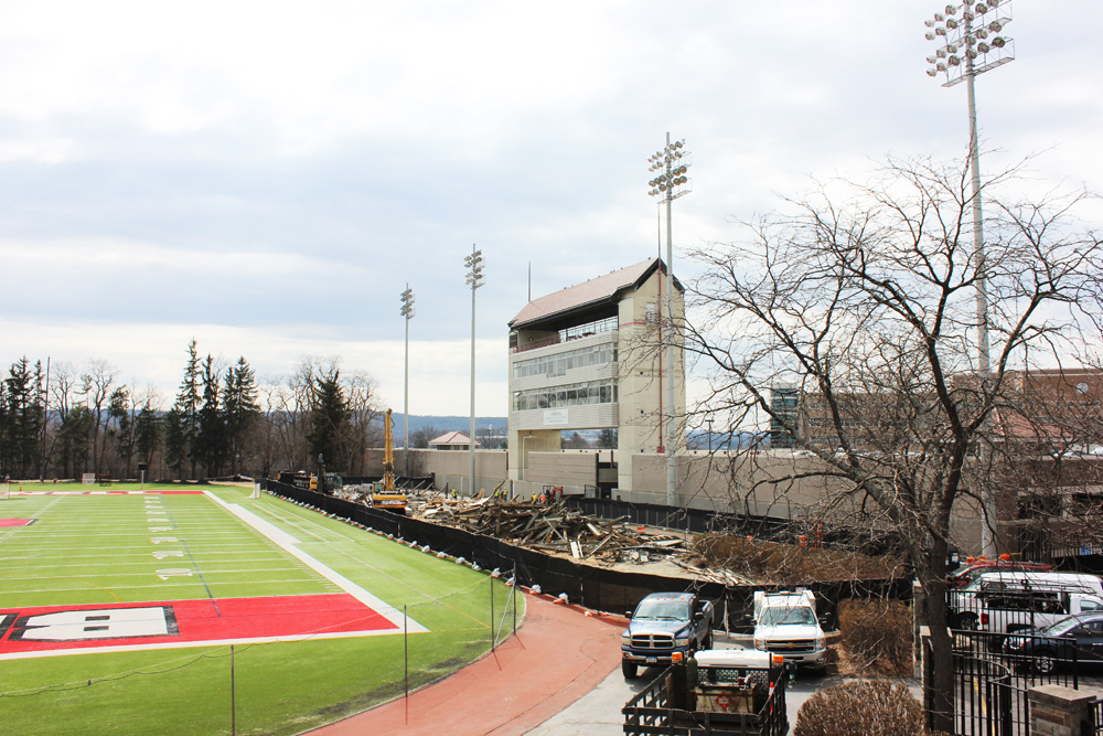 Construction takes down West stands in Schoellkopf field