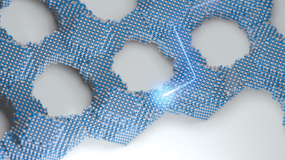 A model illustration depicts a connected quantum dot solid. The bright blue line represents an electron moving through the structure.