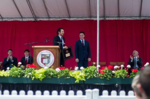James Franco accepts the Class of 2016 Convocation medallion.