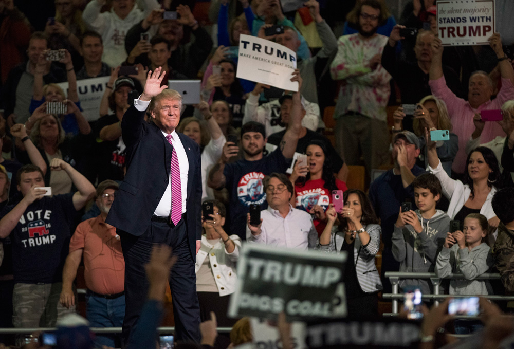 Donald Trump waves to the crowd during a campaign rally in Charleston on May 5.
