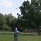 Matan Presberg '18 performs juggling tricks on the Arts Quad.