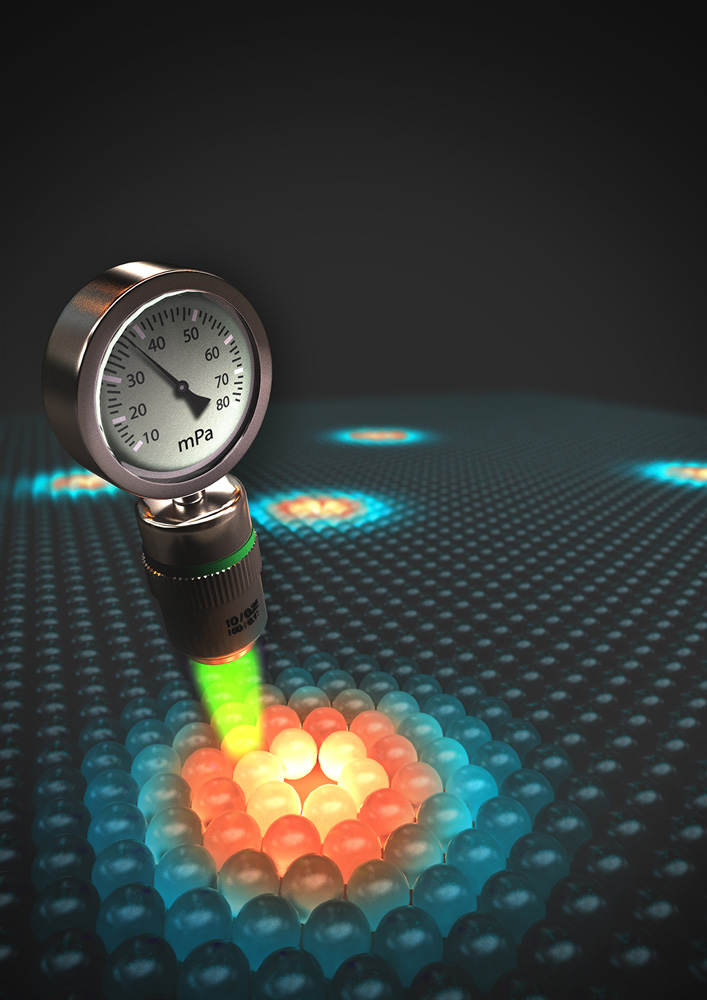 Cornell researchers have transformed a microscope into a local pressure gauge, as shown by this illustration.