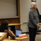 Barbara Knuth, senior vice provost and dean of the graduate school, addresses Cornell's 2035 carbon  neutrality goal at the GPSA meeting Monday.