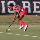 Junior Krysten Mayers led the Red against brown with her first career hat trick.
