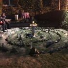 The community labyrinth constructed behind Sacred Root Kava Bar.