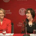 Jan Zubrow '77 and Martha Pollack speak at a press conference today. Zubrow headed the presidential search committee that selected Pollack for the Cornell presidency.