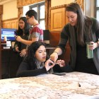 Law students wasted no time in sending President Trump a message, signing the backs of puzzle pieces to emphasize the importance of upholding the Constitution.