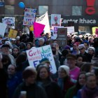 Thousands of people flooded the Ithaca Commons for the Women's March on Ithaca Saturday.
