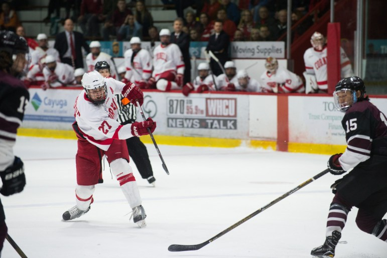 Senior defenseman Patrick McCarron finished his last regular season with a goal against RPI Friday.