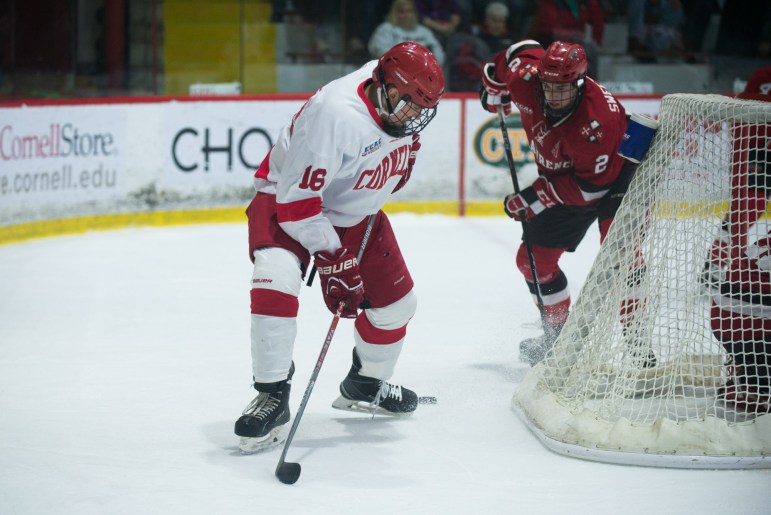 Senior forward Matt Buckles got the scoring started for Cornell, whose three-goal first powered the Red past St. Lawrence.