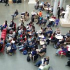 Students and faculty gather in the Klarman Atrium for a teach-in on Islam on Friday.
