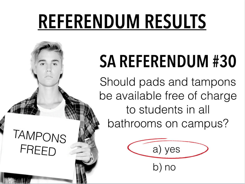 S.A. members and Cornell administrators are working together to provide free tampons in a select number of bathrooms after Referendum 30 passed last semester