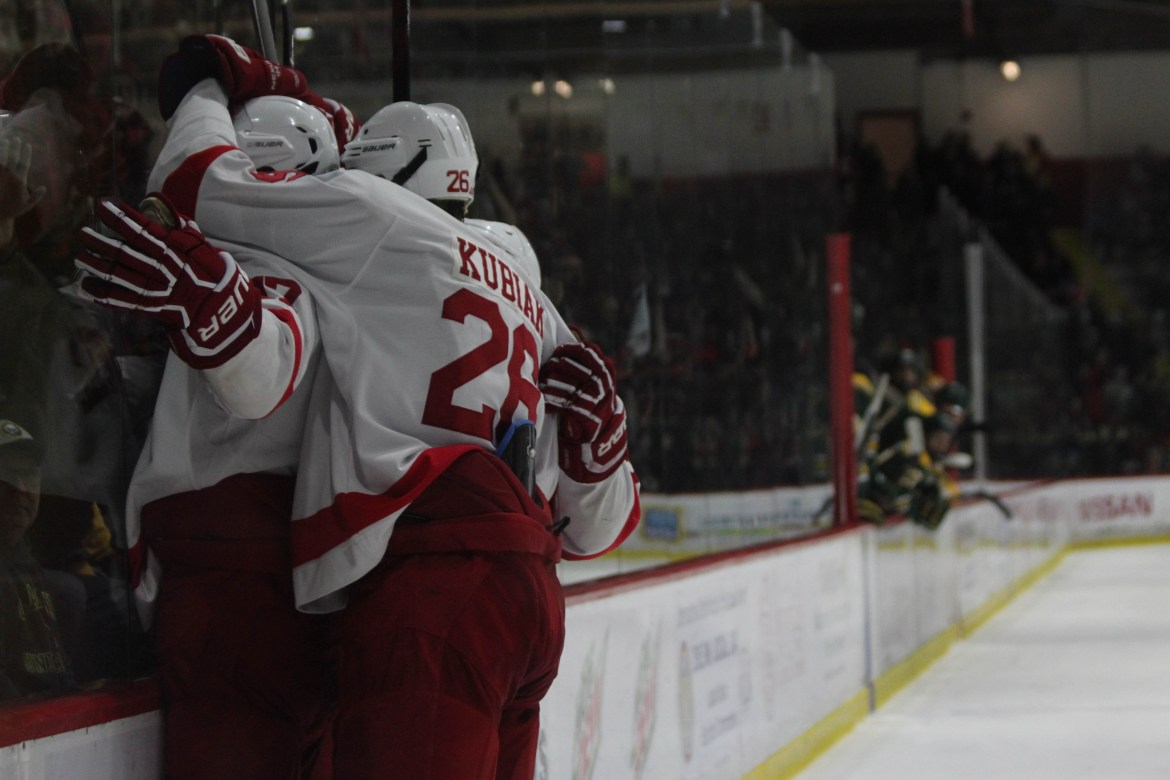 Sophomore forward Anthony Angello celebrates his game-winning goal in the third period.