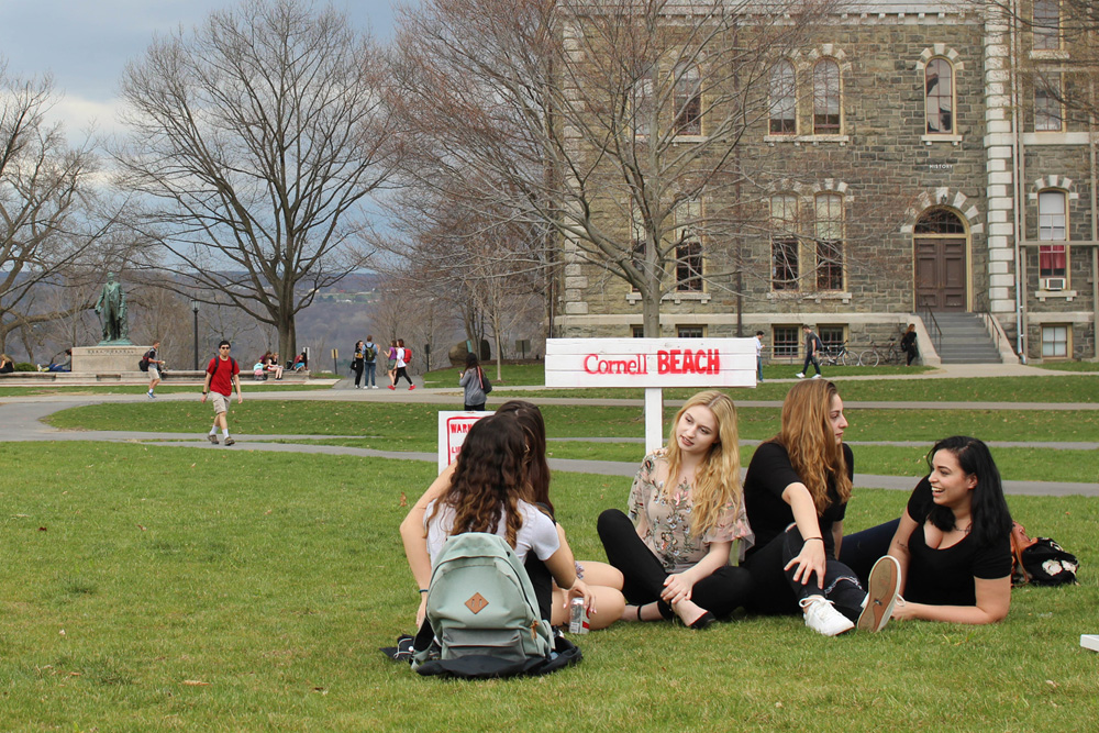 "Five BFA students enjoy the ""Cornell Beach"" on the Arts Quad, created by arts student Daniel Seung Hwan Lee '20"