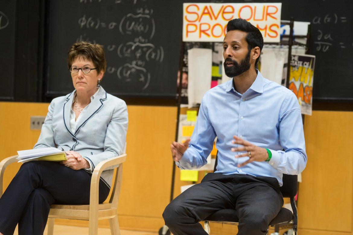 Dean Ritter and Dean Pendakur respond to demands of the College of Arts and Sciences voiced by concerned students (Omar Abdul-Rahim/Sun Staff Photographer)