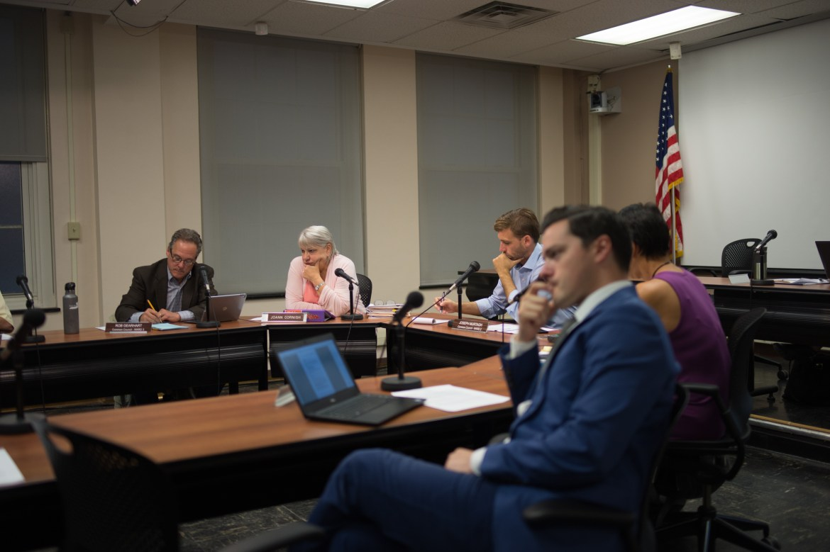 Members of the Ithaca Common Council hear an overview of plans to redevelop the Green Street parking garage.