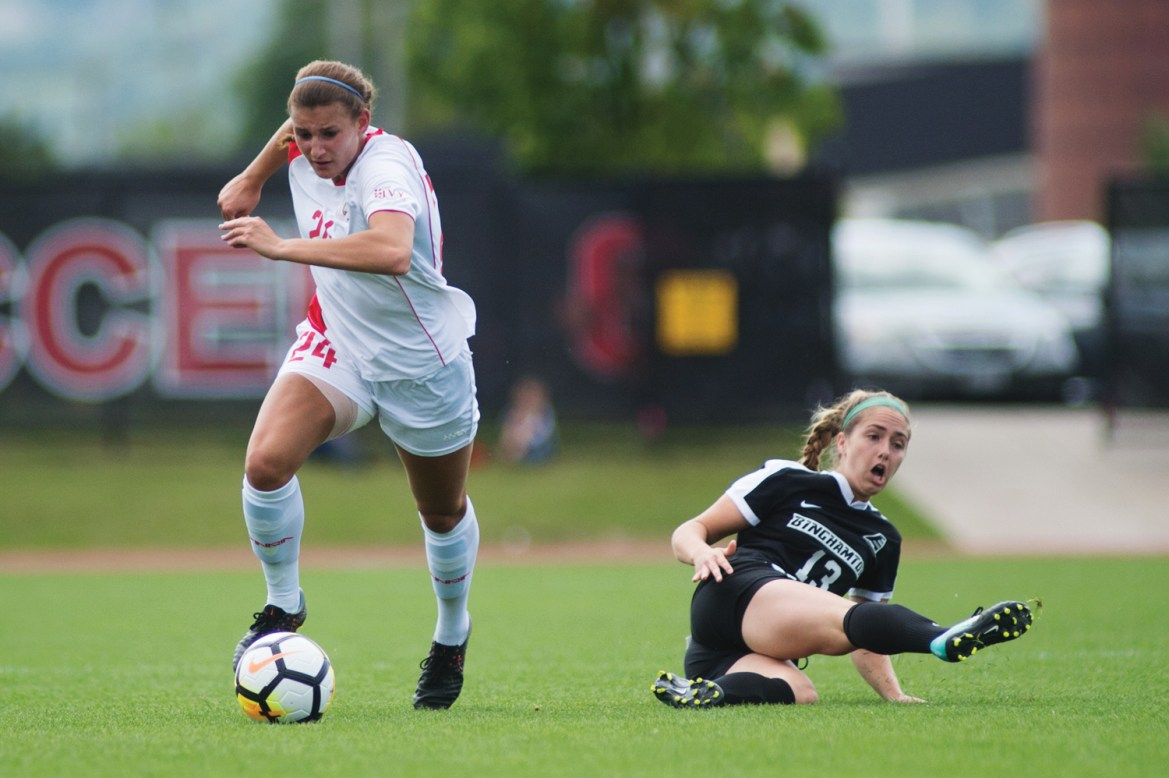 Playing on just one day of rest, Cornell was outpaced by Binghamton on Sunday.