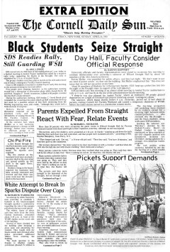 The Cornell Daily Sun's front page on April 20, 1969, after black students had taken over Willard Straight Hall during Parents Weekend.