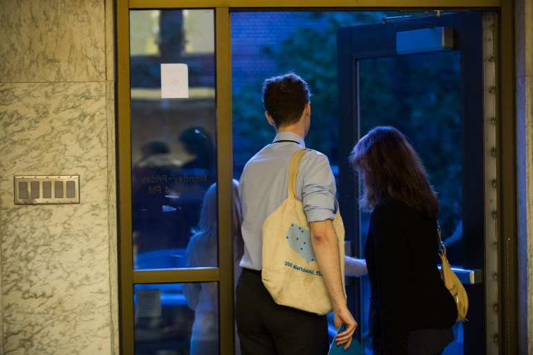 Reed Steberger '13 leaves Ithaca Town Hall after withdrawing from the County Legislature campaign on Thursday evening following a report in The Sun.