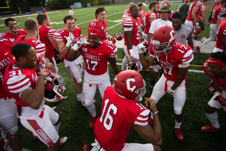 Cornell Football celebrates after the Homecoming win over Brown on Saturday.