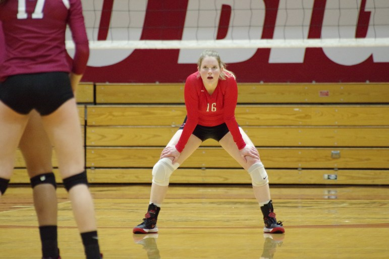McPeek in a Volleyball game last year against Harvard. In 2017, McPeek is second in the Ivy League in digs per set with 4.5.